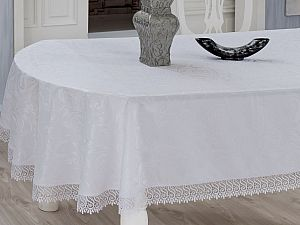 Овальная скатерть Evdy Kdk с гипюром 160х280 см, белая