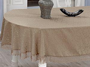 Овальная скатерть Evdy Kdk с гипюром 160х280 см, кофейная