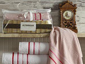 Комплект полотенец Altinbasak Dolce, белый и розовый