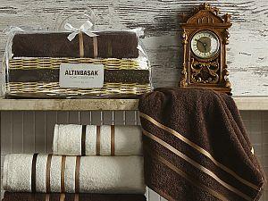 Комплект полотенец Altinbasak Dolce, кремовый и коричневый