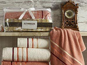Комплект полотенец Altinbasak Dolce, кремовый и грязно-розовый