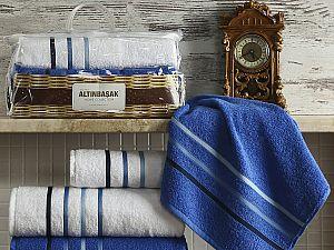 Комплект полотенец Altinbasak Dolce, белый и парламент