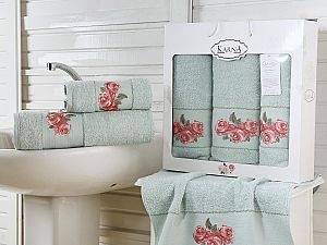 Комплект полотенец Karna Havin, зеленый
