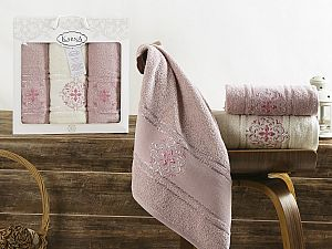 Комплект полотенец Karna Seher, пудра