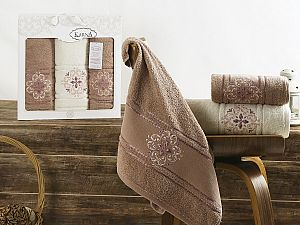 Комплект полотенец Karna Seher, грязно-розовый