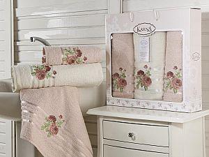 Комплект полотенец Karna Rosen, светло-абрикосовый арт. 2357/char003