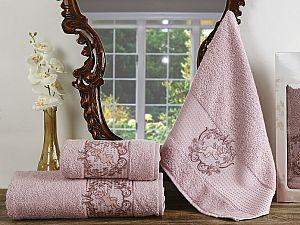 Комплект полотенец Karna Claris, грязно-розовый арт. 2359/char002