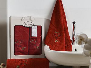 Комплект полотенец Karna Orkide, бордовый арт. 2360/char002