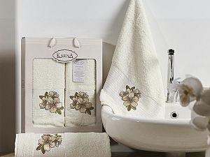Комплект полотенец Karna Orkide, кремовый арт. 2360/char004