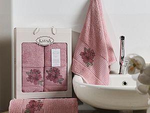 Комплект полотенец Karna Orkide, розовый арт. 2360/char005