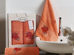Комплект полотенец Karna Orkide, коралловый арт. 2360/char003