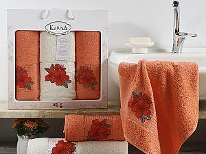 Комплект полотенец Karna Orkide, коралловый арт. 2361/char003