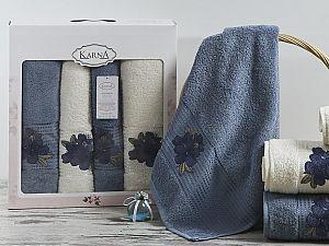 Комплект полотенец Karna Orkide, синий и саксен арт. 2362/char005