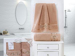 Комплект полотенец Karna Monica, персиковый арт. 2392/char004