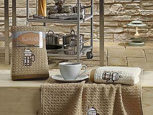 Комплект полотенец Karna Lemon V5 45x65 см, коричневый