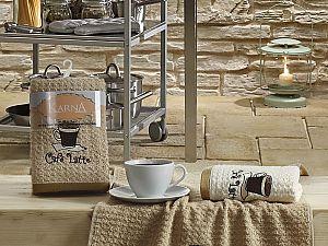 Комплект полотенец Karna Lemon V1 45x65 см, коричневый