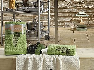 Комплект полотенец Karna Lemon V1 45x65 см, зеленый