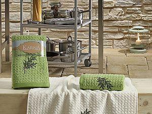 Комплект полотенец Karna Lemon V2 45x65 см, зеленый