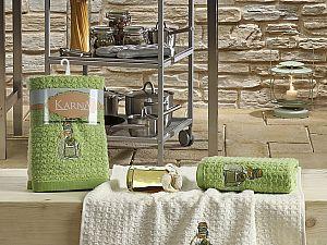 Комплект полотенец Karna Lemon V3 45x65, зеленый