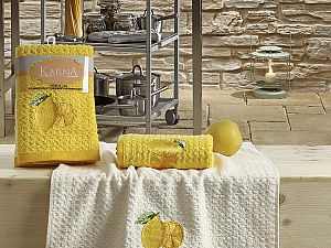 Комплект полотенец Karna Lemon V1 45x65 см, желтый