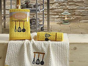 Комплект полотенец Karna Lemon V2 45x65 см, желтый