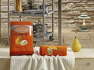 Комплект полотенец Karna Lemon V3 45x65 см, оранжевый