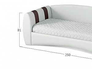 Кровать Moon Trade Кальвет (левая) Модель 387 Марципан/Пралине