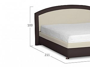 Кровать Moon Trade Мирабель Модель 379 Рожь+Кофе с основанием