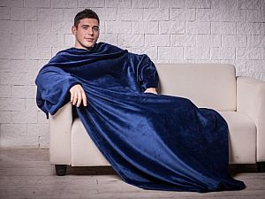 Плед Blankee с рукавами и поясом, синий