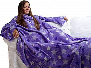 Плед Sleepy Luxury с рукавами и поясом, фиолетовый со звездами