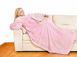 Плед Sleepy Original с рукавами и поясом, розовый