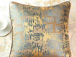 Декоративная подушка Asabella D6-4, золото на серо-голубом