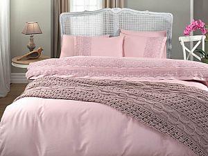 Постельное белье Gelin Home с пледом, Selin темно-розовый