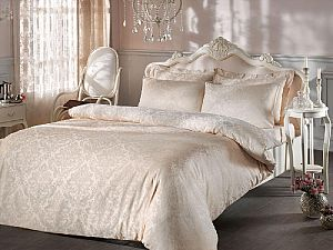 Жаккардовое постельное белье Tivolio Bambura, бежевое
