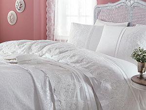 Постельное белье Gelin Home с покрывалом, Donna темно-розовый