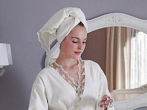 Халат Tivolyo Bianca S-M с полотенцем 50х100 см, белый