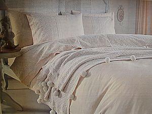Постельное белье Gelin Home с пледом, Derya кремовый