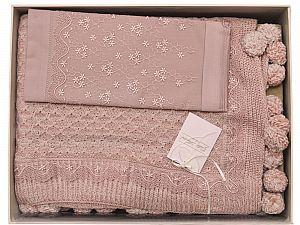 Постельное белье Gelin Home с пледом, Derya грязно-розовый