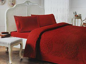 Комплект Tivolyo Alfredo с покрывалом, бордовый