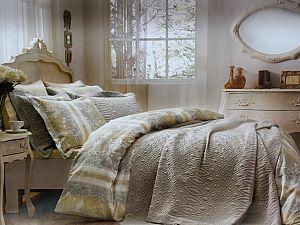 Жаккардовое постельное белье Tivolio Floral, бежевое