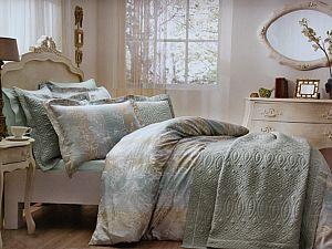 Жаккардовое постельное белье Tivolio Floral, зеленый