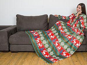 Плед Sleepy New Year с рукавами и поясом, зелено-красный с оленями