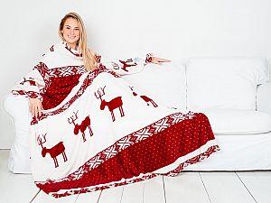 Плед Sleepy New Year с рукавами и поясом, бордовые олени