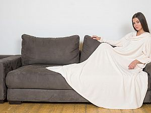 Плед Sleepy Original с рукавами и поясом, бежевый
