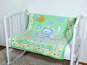 Байковое одеяло ОТК Мишка на лужайке