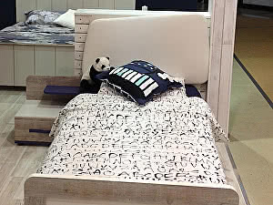 Купить кровать Интеди Тайм с мягким элементом и настилом, ИД 01.265 (90)