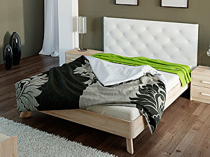 Купить кровать Корвет 69 Серия МК 44 (ель) + спинка СМ 14 (белая classic)