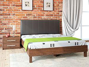 Купить кровать Корвет 93.01 Серия МК 44 (старый дуб) + спинка СМ 2 (черная classic)