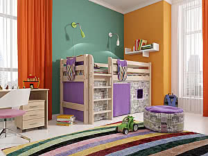 Кровать низкая Райтон Отто-11 с прямой лестницей