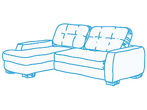 Химчистка стандартного углового дивана